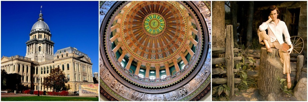 Images of State Capitol, Capitol Dome Interior and the Abraham Lincoln Museum Interior